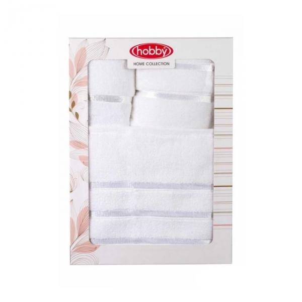 "Махровые полотенца в коробке ""DOLCE"", размер 30x50,50x90,70x140 см, цвет белый"