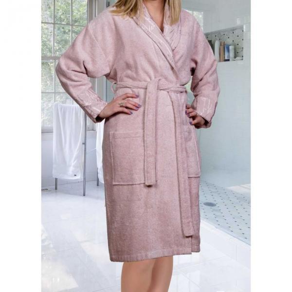 "Махровый халат ""ELIZA"", размер M, цвет пудра"