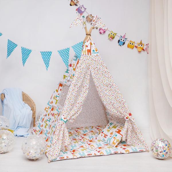 Вигвам Комфорт для детей, жирафы, фейерверк звезд, перкаль 140г/м, хл 100%