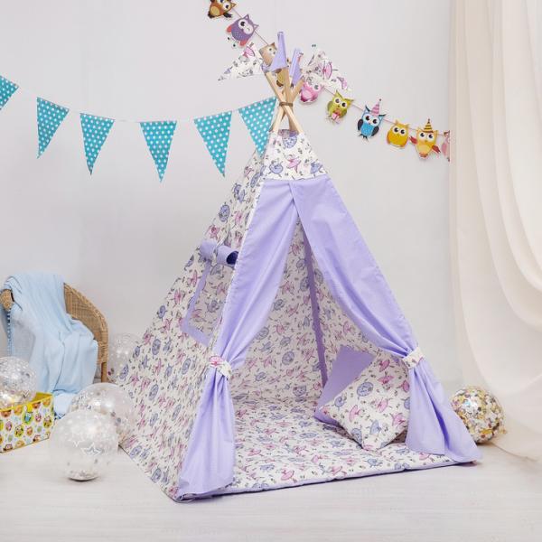 Вигвам Комфорт для детей, мышки-балеринки, горошек на фиолетовом, перкаль 140г/м, хл 100%