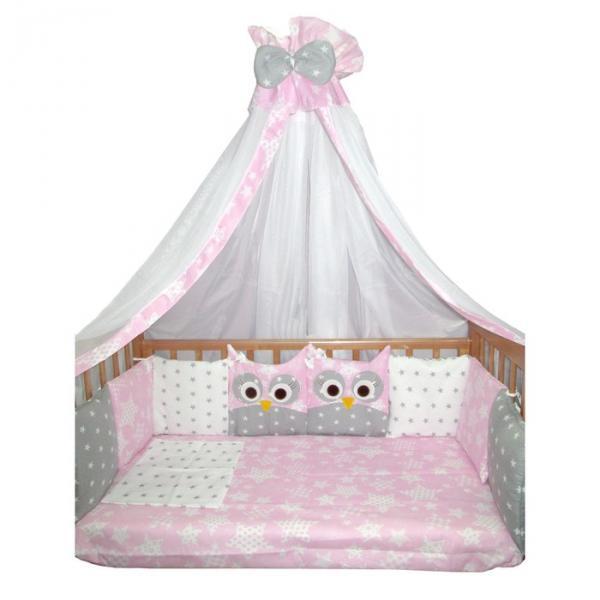 """Комплект в кроватку (22 предмета) Incanto, универс. """"Совушки"""", розовый, хлопок 100%"""