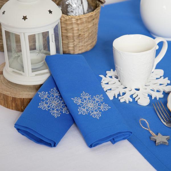 """Набор салфеток """"Этель"""" Снег, 40х40 цвет синий, 2 шт, с ВМГО хл, 200 гр/м?"""