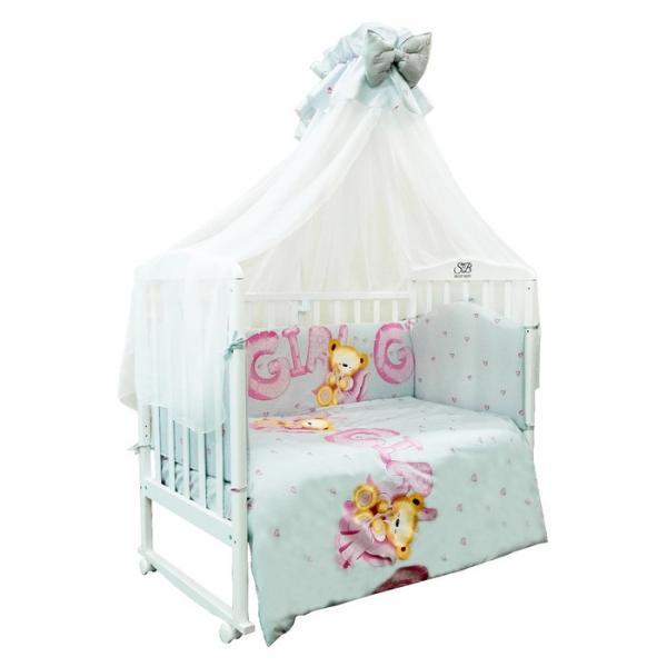 Комплект в кроватку Orso Rosa, 7 предметов, сатин, цвет розовый