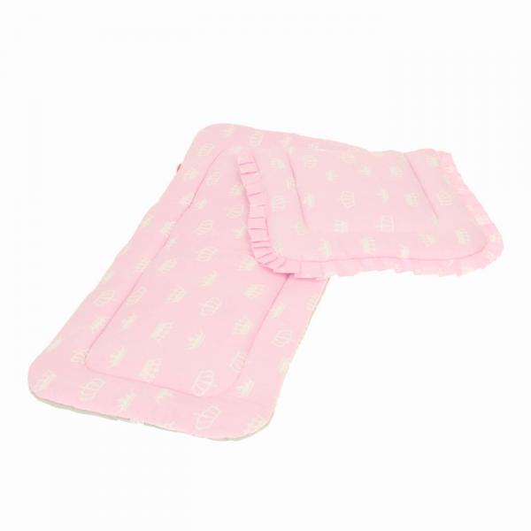 Матрасик с подушкой в коляску, диз.короны серый/розовый, бязь 125г/м, хл100%