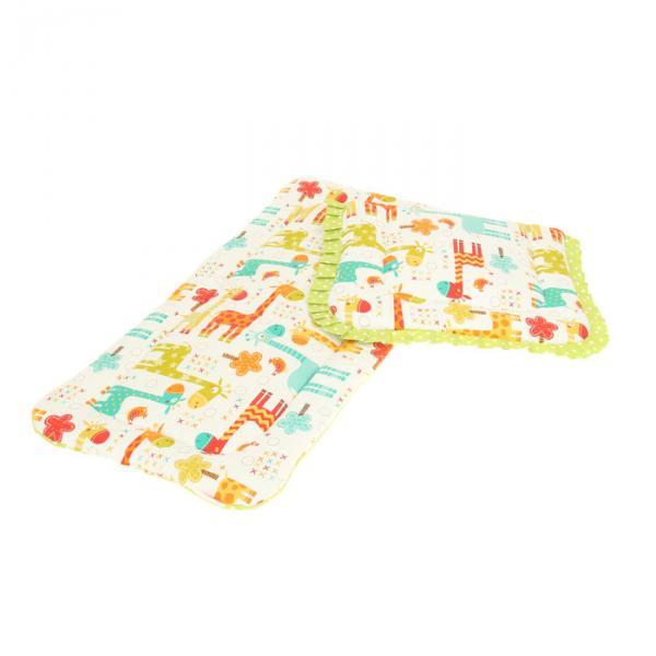 Матрасик с подушкой в коляску, диз.жирафы/болотный горошек, перкаль 140г/м, хл100%
