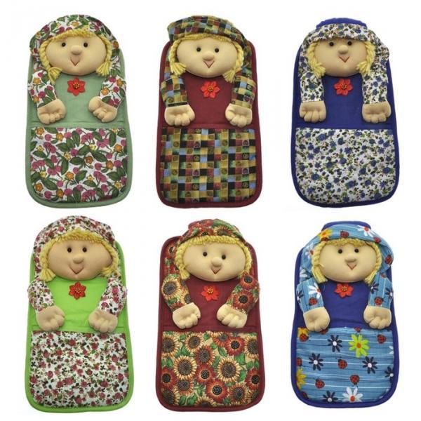 """Прихватка с карманом """"Кукла"""", размер 16х28 см, цвет микс АС20-2"""