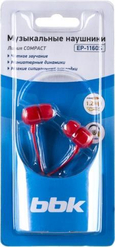 Наушники BBK EP-1160S (красный)