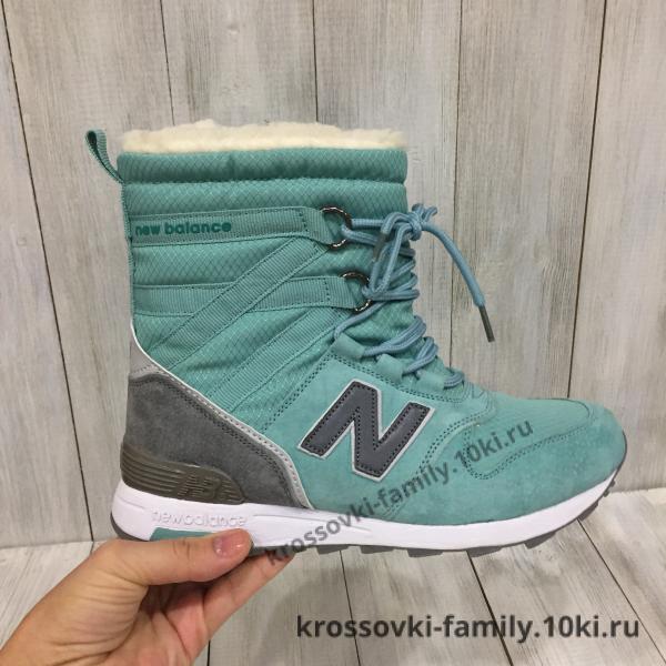 Фото Женские зимние кроссовки Сапожки зимние женские New Balance зеленые