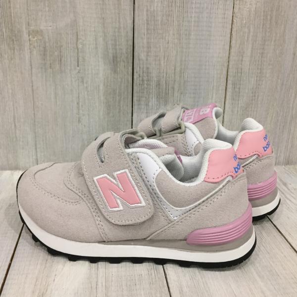 Детские New Balance серые с розовым