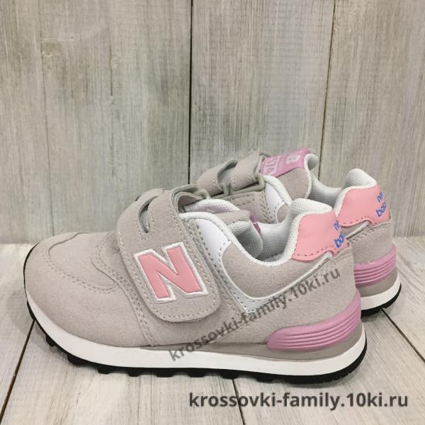 Фото Детские кроссовки Детские New Balance серые с розовым