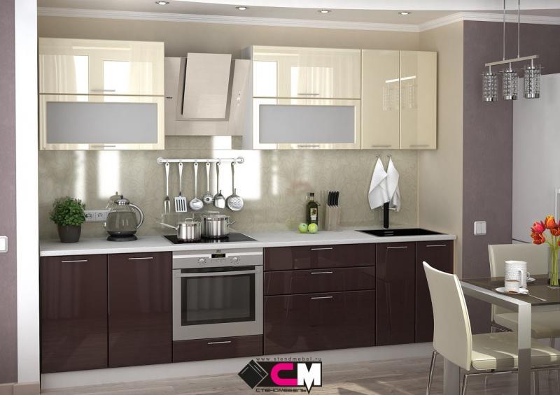 Фото Кухни модульные Кухня Ксения МДФ шоколад/ваниль глянец (Стендмебель)