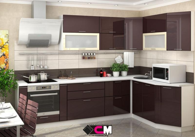 Фото Кухни модульные Кухня Ксения МДФ шоколад глянец (Стендмебель)