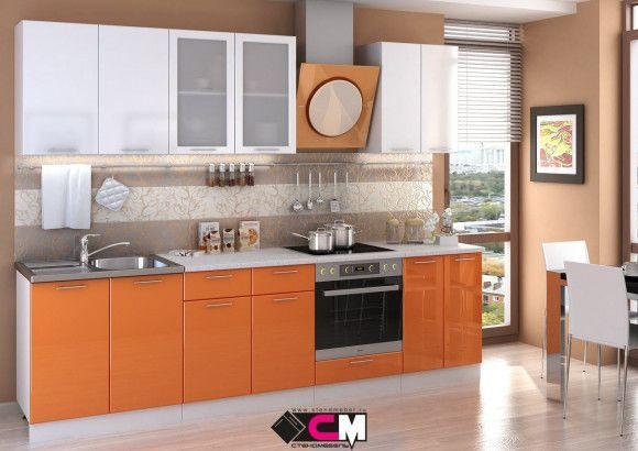 Кухня Ксения МДФ оранж/белый глянец (Стендмебель)