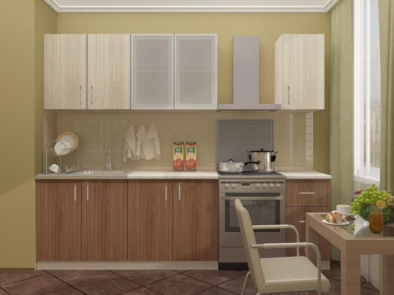 КАТЯ кухня 2,0м. ясень шимо тёмный/шимо светлый