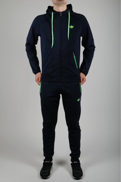Мужской спортивный костюм Adidas Черный/салатовый
