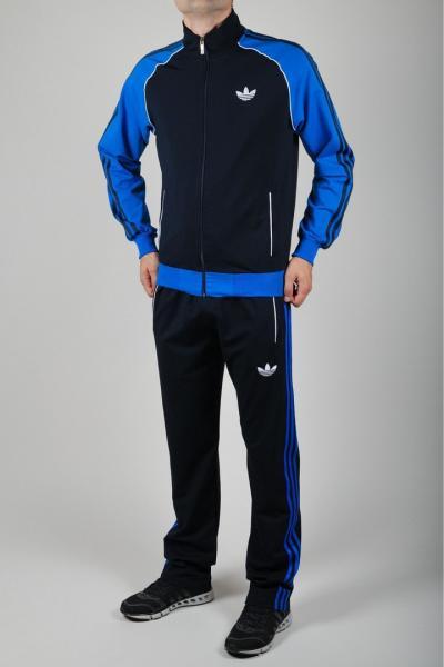 Мужской спортивный костюм Adidas Черный/голубой