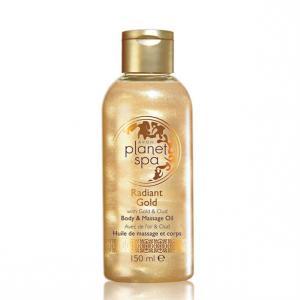 Фото Planet spa для тела Масажна олія для тіла з ефектом мерехтіння і ароматом дерева уд «Сяюче золото», 150 мл