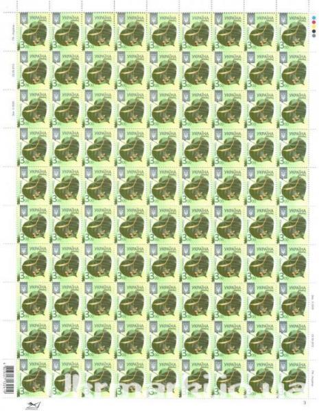 Фото Почтовые марки Украины, Стандартные почтовые марки Украины для коллекции 2012 № 1174 (Зам. 1-3632 от 20.12.2011 ) лист стандартный почтовых марок восьмого выпуску: «Липа серцелиста» (3,00)(90шт.)