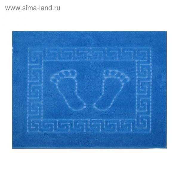Коврик для ног прорезиненный, 50х70 см голубой нано-микрофибра п/э100%