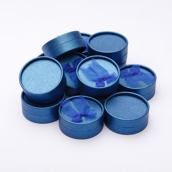 """Коробочка для украшений синяя """"шайба"""" (большая) 8/8/4см 12 шт."""