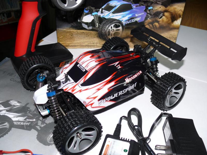 Машинка багги WLtoys A959, полный привод 4X4 , масштаб 1:18 , длина 26 см. Цвет черный с красным.