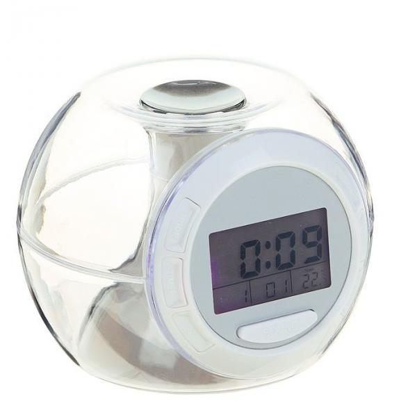 Часы-будильник LuazON LB-06, 7 цветов дисплея, 6 звуков, прозрачный