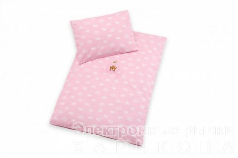 Постельное белье в коляску Корона, розовый