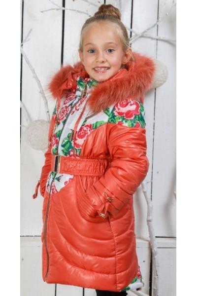 Пальто (зима) Василиса д/дев(коралл)