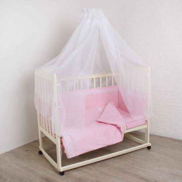 """Комплект в кроватку """"Вдохновение"""" (7 предметов), цвет розовый 30705"""