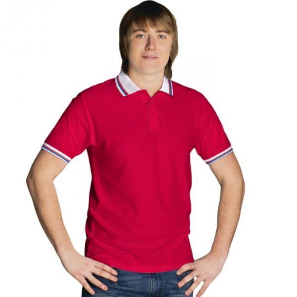 Рубашка-поло мужская StanRussian, размер 48, цвет красный-белый 185 м/г 04RUS