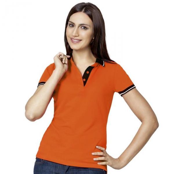 Рубашка-поло женская StanContrast, размер 46, цвет оранжевый 185 м/г 04CW