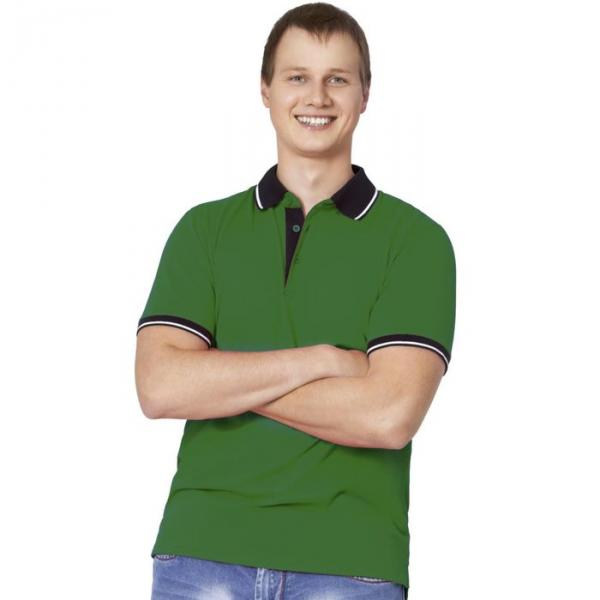 Рубашка-поло мужская StanContrast, размер 48, цвет зелёный 185 м/г 04C