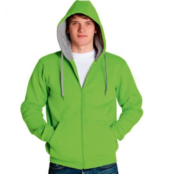 Толстовка мужская StanStyle, размер 44, цвет ярко-зелёный-серый меланж 280 г/м 17