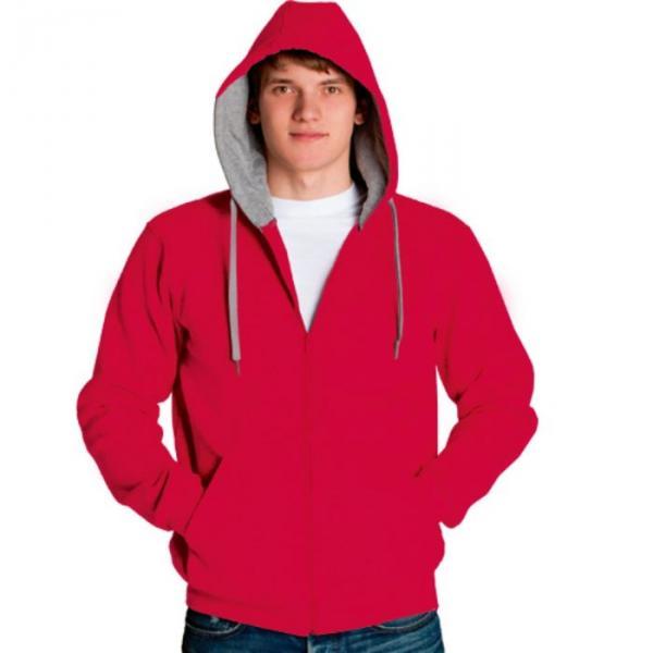 Толстовка мужская StanStyle, размер 44, цвет красный-серый меланж 280 г/м 17