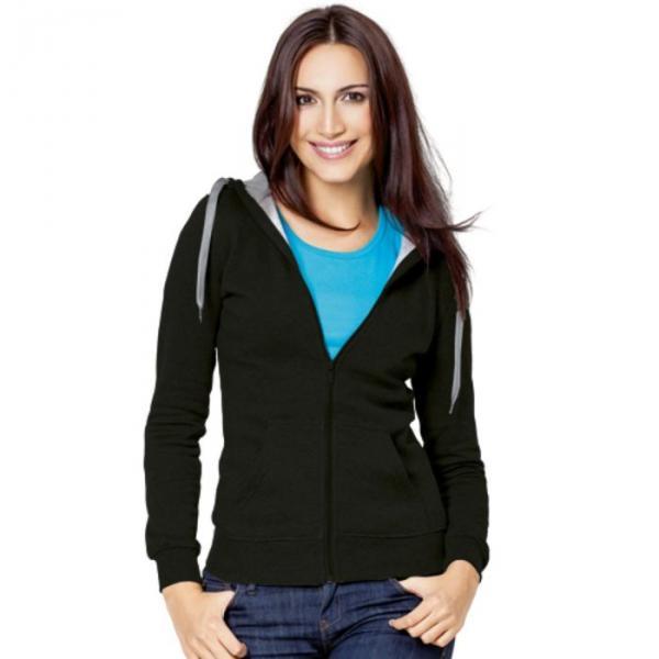 Толстовка женская StanStyle, размер 52, цвет чёрный-серый меланж  280 г/м 17W