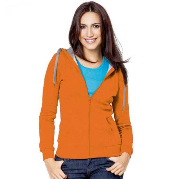 Толстовка женская StanStyle, размер 46, цвет оранжевый-серый меланж  280 г/м 17W