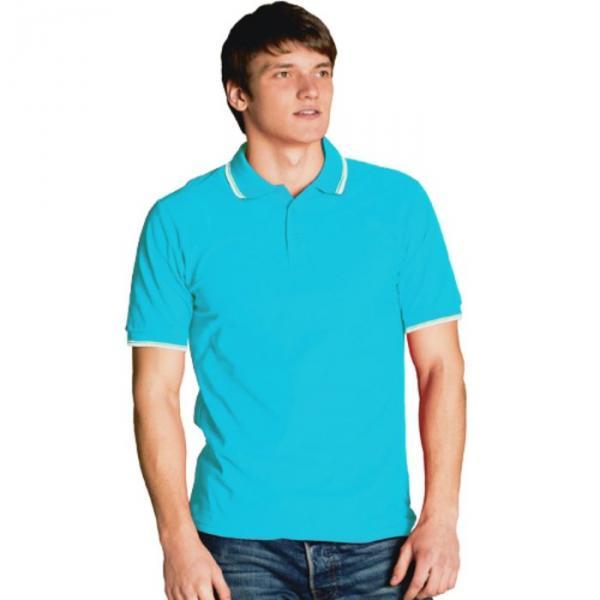 Рубашка-поло мужская StanTrophy, размер 48, цвет бирюзовый 185 г/м 04T