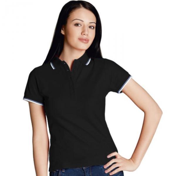 Рубашка-поло женская StanBeauty, размер 44, цвет чёрный 185 г/м 04BK