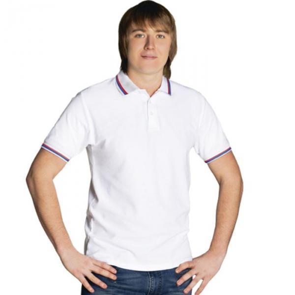 Рубашка-поло мужская StanRussian, размер 50, цвет белый 185 м/г 04RUS