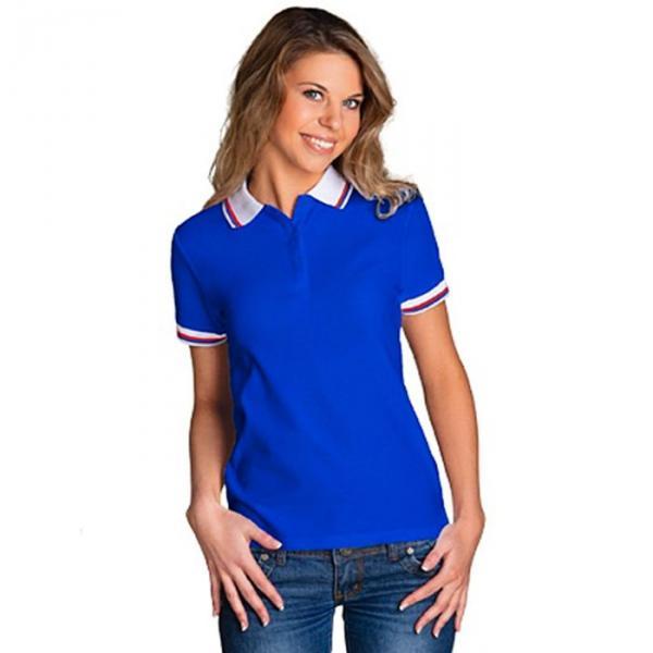 Рубашка-поло женская StanRussian, размер 44, цвет синий-белый 185 м/г 04WRUS