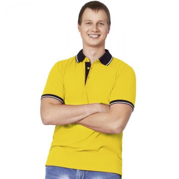 Рубашка-поло мужская StanContrast, размер 48, цвет жёлтый 185 м/г 04C