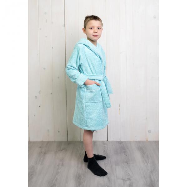 Халат махровый для мальчика капюшон + кант, цв. бирюза, рост 152, хл100%