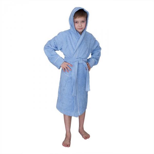 Халат махровый для мальчика капюшон + кант, цв. синий, рост 152, хл100%