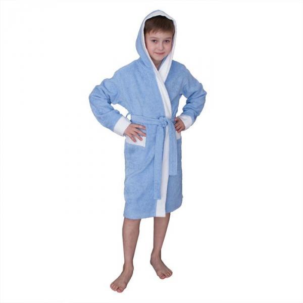 Халат махровый для мальчика капюшон + комби/белый, цв. голубой, рост 152, хл100%