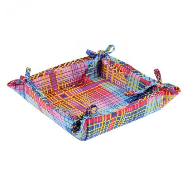 "Текстильная хлебница ""Дачный пикник"", размер 18х18 см, бязь 125г/м"