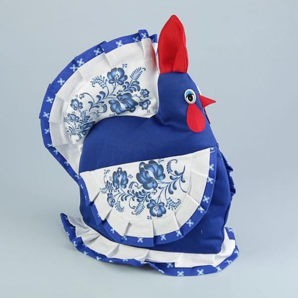 Грелка на чайник «Курица», гжель