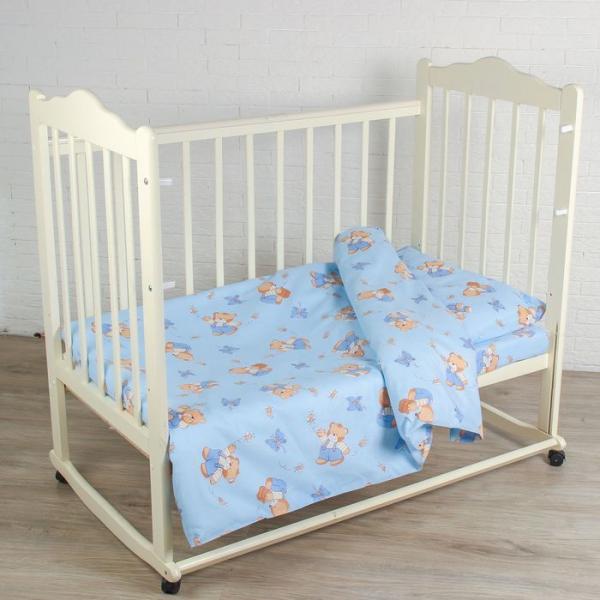 """Постельное бельё BABY """"За мёдом"""", цвет голубой, 112х147 см, 110х150 см, 60х60 см, бязь 142 гр/м"""