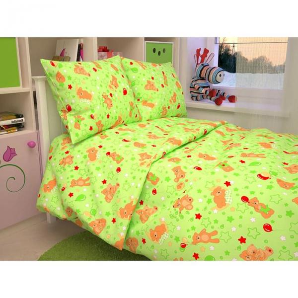 "Постельное бельё BABY ""Мишки"", цвет зеленый 112х147 см, 110х150 см, 60х60 см, бязь 142 гр/м"