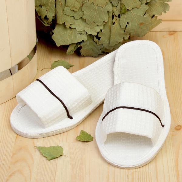 Тапочки для сауны, белые, с кантом