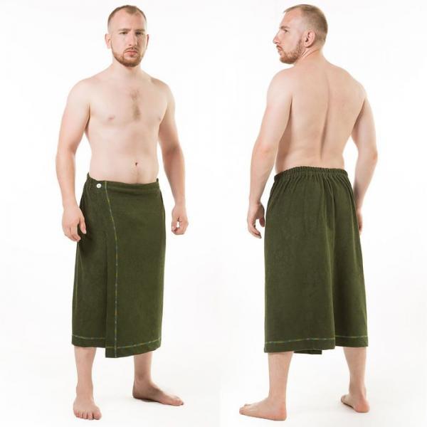 Килт(юбка) муж. махр. арт:КТР-1. 70Х150 темно-зеленый, трикотаж, Хл, 190г/м